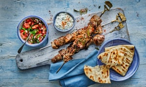 Herby pork souvlaki with mustard sauce